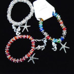 Crystal Beaded Bracelet w/ Silver Nautical Charms .54 each