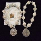 White w/ Clear Crystal Stone Bead Bracelet w/ San Benito Silver Charm .54 each
