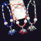 Crystal Stone & Fireball  Bead Bracelet w/ Elephant Charm .54 each
