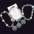 Crystal Stone & Tree of Life  Bead Bracelet w/ Tree of Life Charm .54 each