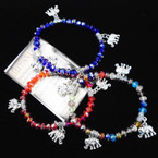Crystal Bead Stretch Bracelet & Silver Elephant Charms .54 each
