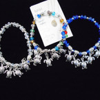 Crystal Bead Stretch Bracelet & Silver Turtle Charms .54 each