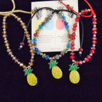 Crystal Bead  Bracelet & Pineapple  Charm .54 each