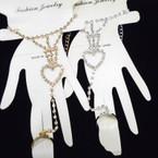 Gold & Silver Rhinestone Slave Bracelet w/ Rings .54 each