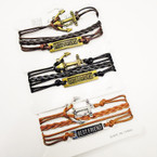 Multi Strand Leather Bracelets w/ Best Friend & Anchor  .56 each