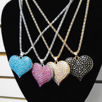 "16"" Fancy Gold & Silver Chain Necklace w/ Crystal Stone Heart Asst Colors  .56 each"