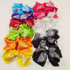"5"" Layed Gator Clip Bow Metallic Fabric & Gro Grain .54 each"