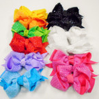 "5"" Layed Gator Clip Bow Tinsel Fabric & Gro Grain .54 each"