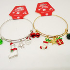 Gold & Silver Adjustable Wire Bangle w/ Christmas Charms .54 ea