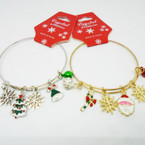 Gold & Silver Adjustable Wire Bangles w/ Christmas Charms .54 ea