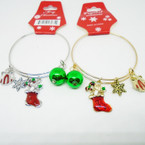 Gold/Silver Adjustable Wire Bangles w/ Christmas Charms .54 ea