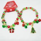 Christmas Theme Crystal Bead Bracelet w/ Bells & Charm .54 each