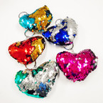 "3.5"" DBL Sided Sequin Mermaid Puff Heart Shaped Keychain  .58 each"