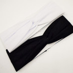 "3"" Knot Center Blk & White Stretch Fashion Headwraps .52 each"