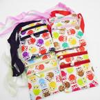 """4.5"""" X 6"""" Owl Pattern DBL Zipper Long Strap Side Bags .56 each"""