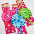 "3.5"" Multi Layer Flower Headbands w/ Colored Stone 24 per pk .50 each"
