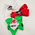 "5"" 3 Color Christmas Gator Clip Bows w/ Sequin Ornament .56 each"