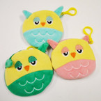 "4"" Plush Owl Theme Coin Purse w/ Clip .56 each"