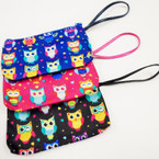 "7"" Owl Pattern Zipper Bag w/ Wrislet asst colors .56 each"