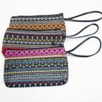 "7"" Tribal Pattern Zipper Bag w/ Wrislet asst colors .56 each"