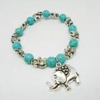 Turquoise Bead & Silver Elephant Charm Bracelets .54 each