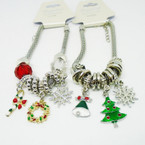 Pandora Style Christmas Theme Bracelet  w/ Colored Beads   .56 each