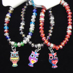 Crystal Bead Stretch Bracelet w/ COlorful OWL Charm .54 each