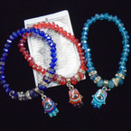Crystal Bead Stretch Bracelet w/ Colorful HAMSA Charm .54 each