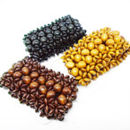 "Fashionable 2"" Wide Wood Stretch Bracelets Natural Colors .54 each"
