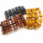 "Fashionable 1.5"" Wide Wood Stretch Bracelets Natural Colors .54 each"