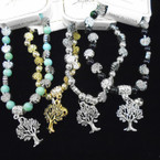 Silver Tree of Life  Bead Bracelet w/ Tree  Charm .54 each
