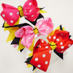 "4"" Poka Dot Bow on Satin Headband 3 colors .54 each"