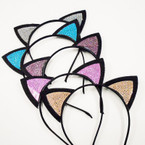 Trendy Blk Cat Ear Headbands Crystal Stones Asst Colors   .54 each