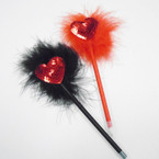 "8"" Red & Black Fury Pen w/ Sequin Heart 12 per pk .54 each"