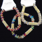 Crystal Bead & Gold Spacer Fashion Stretch Bracelets .54 each