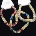 Crystal Bead & Gold Spacer Fashion Stretch Bracelets .54 each