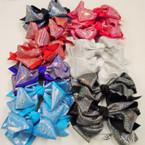 "5"" Festive 2 Layer Gator Clip Bows w/ Metallic Fabric .54 each"
