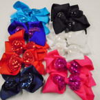 "5"" Festive 2 Layer Gator Clip Bows w/ Sequin Bow  .54 each"