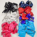 "5.5"" 2 Layer Gator Clip Bows w/ Silver Cut Out Hearts .54 each"