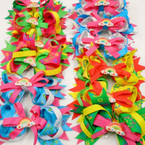 "5"" Multi Layer Ribbon Gator Clip Bow w/ Rainbow Theme .56 each"