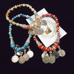 Beaded Stretch Bracelets w/ San Benito Silver Charms .54 each