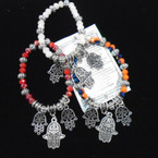 Beaded Stretch Bracelets w/ Hamsa Silver Charms & Story Card  .54 each