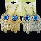 "2"" Gold & Silver Hamsa Crystal Stone Earrings w/ Eye Bead .54 each"