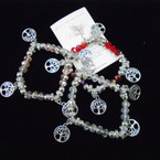 Crystal Beaded Stretch Bracelets w/ Tree of Life Charms & Story Card  .54 each
