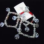 Crystal Beaded Stretch Bracelets w/ Tree of Life Charms & Story Card  .54 each