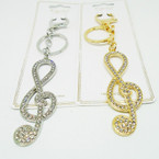 "3"" Cast Gold & Silver  Musical Note Crystal Stone Keychains .56 each"
