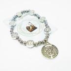 Silver Stretch Bracelets w/ San Benito Silver Charms & Story Card .54 each