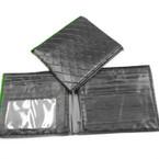 Men's Leather Look Bi Fold Wallets w/ Pattern All Black  .56