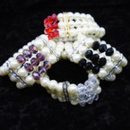 3 Strand Glass Pearl Bracelet w/ Crystal  Beads .56 each