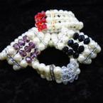 3 Strand Glass Pearl Bracelet w/ Crystal  Beads .56 each